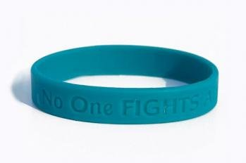 - No One Fights Alone! Cancer Awareness Wristband (Teal) - Ovarian Cancer