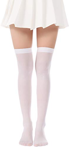 Over Knee Long Striped Stockings Saint Patrick's Day Socks Costume Thigh High Tights(02 White stockings) -