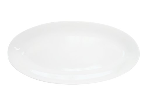 (CAC China RCN-98 Clinton Rolled Edge 18-Inch by 8-1/4-Inch by 1-1/2-Inch Super White Porcelain Fishia Oval Platter, Box of 6)
