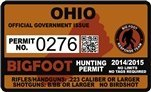 "Ohio Bigfoot Hunting Permit 2.4"" x 4"" Decal Sticker"