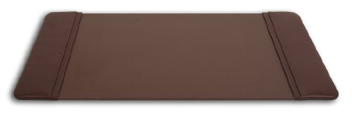 Dacasso Chocolate Brown Leather Desk Pad with Side Rails, 25.5-Inch by 17.25-Inch