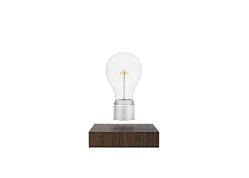 FLYTE Manhattan - Original, Authentic Floating Levitating LED Light Bulb Lamp (Walnut Base, Chrome Cap Bulb)
