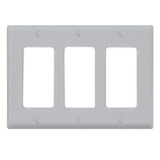 Nylon Decora 3 Gang Leviton (Leviton 80411-NGY Decora Wallplate, 3-Gang, Nylon, Gray)
