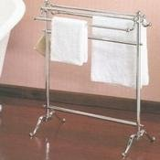 Valsan 53515ES Satin Nickel Essentials Free Standing Floor Double Towel Holder -