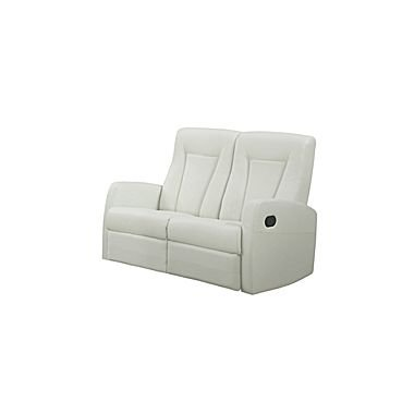 Contemporary Ivory Leather Sofa - Monarch Specialties I 82IV-2 Reclining Love Seat in Ivory Bonded Leather