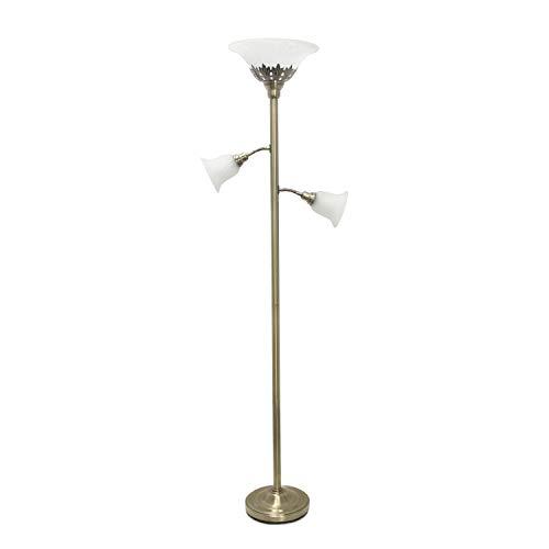 Elegant Designs LF2002-ABS 3 Light Scalloped Glass Shades Floor Lamp, Antique Brass