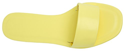 AnnaKastle Womens One Band Flat Slide Sandal Yellow EsgV7