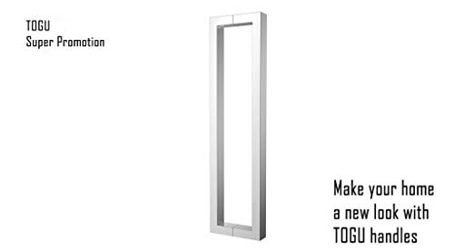 TOGU TG-6013 900mm/36 inches Square/Rectangle Shape Stainless Steel Push Pull Door Handle for Solid Wood, Timber, Glass and Steel Doors, Mirror Polished Chrome Finish