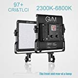 GVM Dimmable Bi-color LED Video Panel Light 2300~6800K For Studio Interview CRI97+ Brightness of 10~100% Metal Housing Outdoor Video Photography Lighting Kit 29W 480LS by GVM Great Video Maker