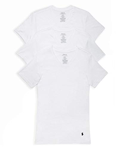 (Polo Ralph Lauren Slim Fit Cotton T-Shirt 3-Pack, M, White)
