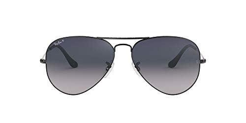 Ray-Ban RB3025 Aviator Classic Polarized Sunglasses, Gunmetal/Polarized Blue Gradient, 55 mm (Ray-ban 3025 55)