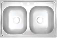 Proplus gidds 2474255 3 hole double bowl kitchen sink for mobile proplus gidds 2474255 3 hole double bowl kitchen sink for mobile homes 20 gauge stainless steel 33 x 19 x 8 workwithnaturefo