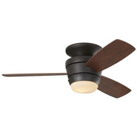 HB Mazon 44-in Bronze Flush Mount Indoor Ceiling Fan w/ Light Kit, Remote