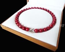 - 12mm Coral Red Color South Sea Shell Pearl Round Gems Necklace 24