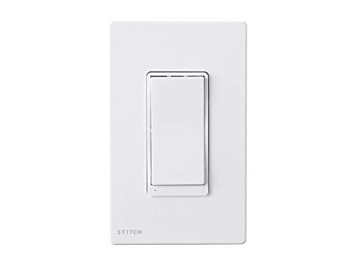 (Monoprice Wireless Smart in-Wall On/Off Light Switch Wall Plate - White, Compatible with Alexa and Google Home, No Hub Required - Stitch Smart Home Collection)