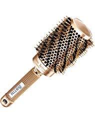 Brocha redonda para el pelo con cerdas de jabalí para secar, rizar y alisar, cepillo para polvo de estilo profesional de...
