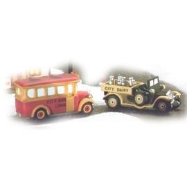 Dept. 56 Christmas in the City Transport - School Bus & Milk Truck #5983-8