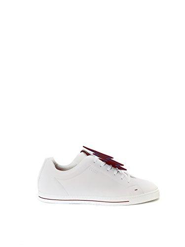 FENDI MEN'S 7E1037S65F0GDK WHITE LEATHER SNEAKERS (Fendi Mens Sneakers)