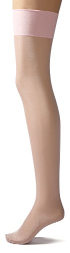 Sexy Sheer Thigh High Support Stockings - Shiny Compression Control Toe and Over the Knee Tight(1 Pair (Pink Spandex Sheer Stockings)
