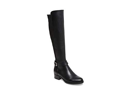 Steve Madden Womens Jadine Leather Almond Toe Knee High, Black Leather, Size 7.0