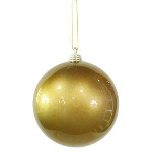 Vickerman 4'' Antique Gold Candy Finish Christmas Ball Ornament, 4 per Box by Vickerman