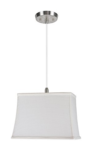 Aspen 6 Light Pendant - Aspen Creative 72036 One-Light Pendant with Rectangular Hardback Shaped (Spider) Shade in Off White, ((6 + 12) x (8 + 14)  x 10, Off
