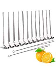 Drinking Spoon Straws,Elegant life Reusable Metal Stainless Steel Drinking Straw with Spoon, Food-Grade Long Spoons Set of 12 with 2 Cleaning Brushes, Use for Home Café Office Restaurant, 8 Inch