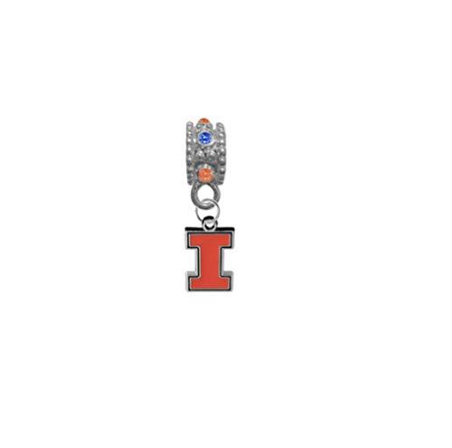 Illinois Fighting Illini Orange & Blue Rhinestone/Gem Charm with Connector - Universal European Slide On Charm - Classic & Original Style Perfect for Bracelets, Necklaces, DIY Jewelry