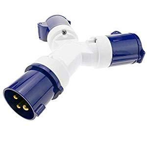MAYAN Enchufe industrial Adaptador CETAC macho a 2 x CETAC hembra 2P+T 16A 250V IP44 IEC-60309