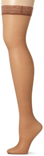 Legging Silk Reflections - Hanes Women's Silk Reflections Thigh Highs, Barely There, E/F