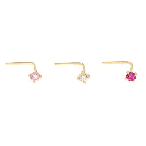 14K Gold 2mm White Pink Red Cubic Zirconium Nose Ring Set