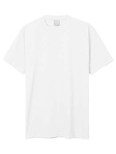 Solid L/s Tee - Hat and Beyond Mens Super Max T Shirt Heavyweight Solid Short Sleeve Tee S-5XL (1ks06_White/L Tall)