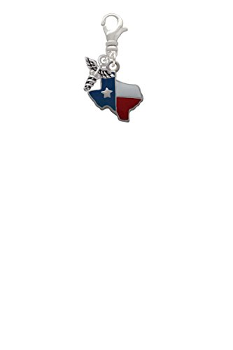 Enamel Lone Star Texas Mini Caduceus Clip On Charm