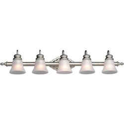 Forte Lighting 5018-05-55 5-Light Traditional Vanity Fixture, Brushed Nickel Finish with Satin Etched Crackle Glass