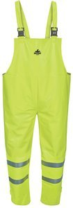 2XL Hi-Vis Lime 8.9cal PVC/Nomex Big Jake Water Repellant ARC Flash Bib Overalls
