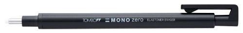 Tombow Mono zero Präzisionsradierer-Set, runde Spitze, mit 2 zusätzlichen Minen zum Nachfüllen, Schwarz