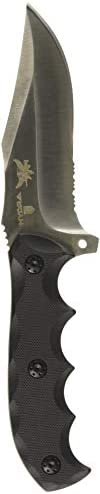 PROELIA Defcon TD006 Fixed Blade 9.0 in D2 Combo Edge G10 Handle Hunting-Fixed-Blade-Knives, Black