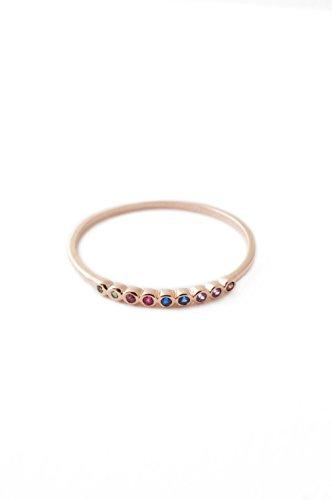 HONEYCAT Rainbow Tiny Crystal Bezel Ring in 18k Rose Gold Plate | Minimalist, Delicate Jewelry 18k Gold Bezel