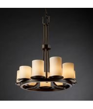 (Justice Design Group CandleAria 9-Light Chandelier - Dark Bronze Finish with Cream Faux Candle Resin Shade)