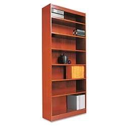 Alera BCS78436MC Square Corner Wood Bookcase, Seven-Shelf, 35-5/8 X 11-3/4 X 84, Medium Cherry