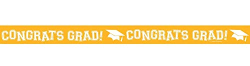 Congrats Grad! Yellow Crepe Paper Streamer (30' Long) for Graduation Themed Party, School Bus Crepe Streamer, Graduation Party Mortarboard Decorations