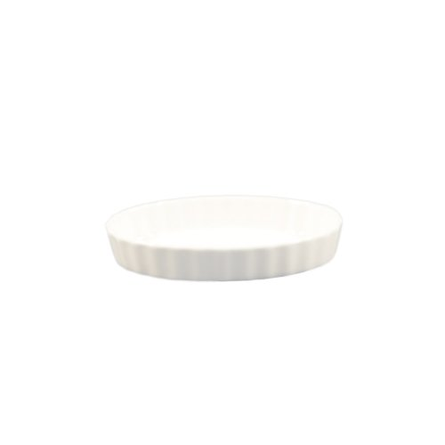 (CAC China QSV-5 4-Ounce Porcelain Oval Fluted Quiche Baking Dish, 5 by 4-Inch, Super White, Box of 36)