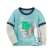 Layered Look Graphic Tee - OshKosh Boys' Triceratops Layered-Look Graphic Tee, Teal, 18-24m