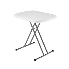 Indoor/Outdoor Folding Table with White Granite Color Plastic Top White Folding Table Indoor Outdoor Carrying Portable Adjustable Handle Svitlife