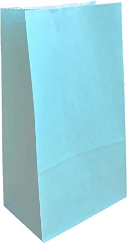 Party Favor Bag - 50 Pack Baby Light Blue Paper Lunch Gift Bags for 1st Birthday, Easter or Baby Shower - 5