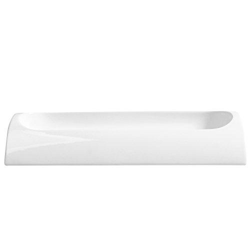 11 X 5 Inch Curved Modern Rectangular Ceramic Flower Dish, Sleek Center Piece Succulent Planter, White by MyGift (Image #2)