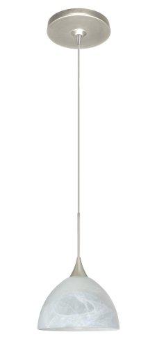 Besa Lighting 1XP-467952-SN Brella Pendant with Marble Glass, Satin Nickel Finish
