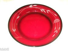 (4 Princess House Crystal Heritage Ruby Red Plates - 8