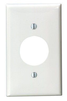 Leviton 80704-W 1-Gang Single 1.406-Inch Hole Device Receptacle Wallplate, White, 1-Pack ()