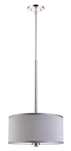 (Woodbridge Lighting Woodbridge Lighting 13420STN-S11502 Pendant, Satin Nickel, Grey)